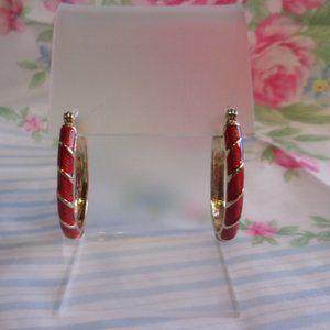 Avon Red Enamel Gold Tone Pierced Hoop Earrings